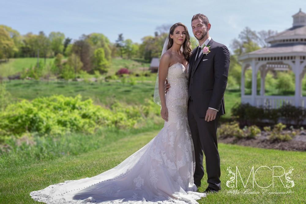 Poconos Wedding - bride and groom gazebo exterior