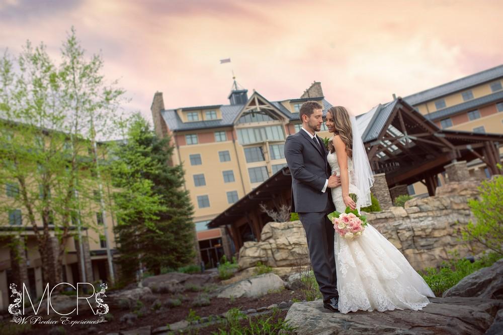 Pocono Wedding - Exterior photo shoot with couple