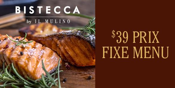 Bistecca $39 Prix Fixe Menu