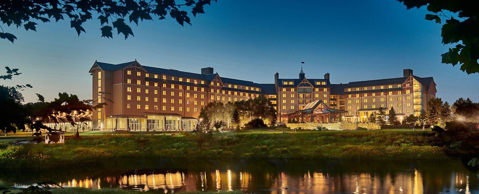 mt airy casino resort spa building nighttime