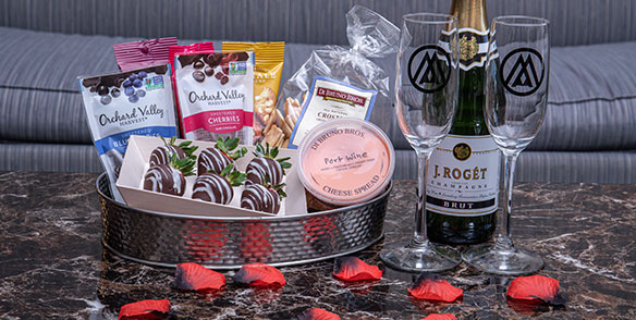 2021 Amenities | sweetheart package- roses, champagne, chcocolate covered strawberries, port cheese wine, chocolate covered nuts and berries and crackers