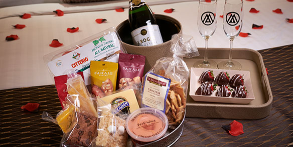 endearment package - champange strawberries, cheese, meats, snacks, rose petals