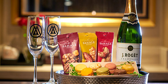movie night package - nuts, macaroons, champagne