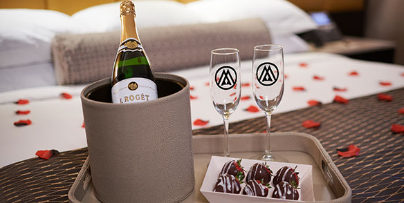 romance package - champagne chocolate covered strawberries