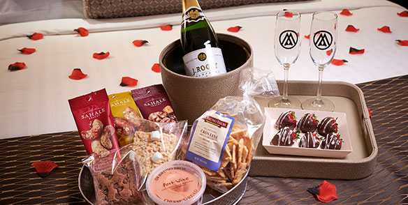 sweetheart package- champagne strawberries, snacks, rose petals