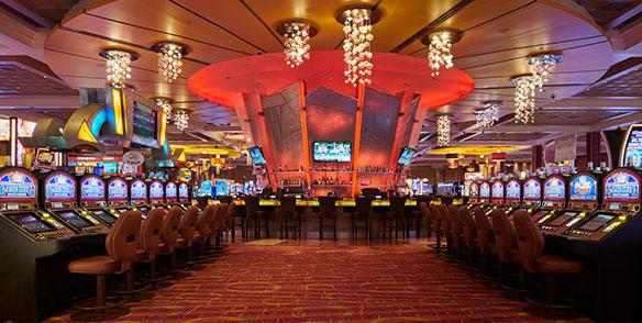 slot machine floor - glass bar